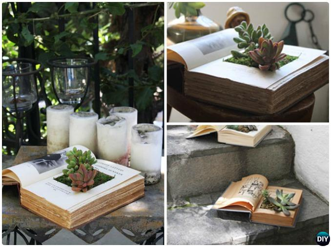DIY Recycled Book Planter Instructions-20 DIY Upcycled Container Gardening Planters Projects