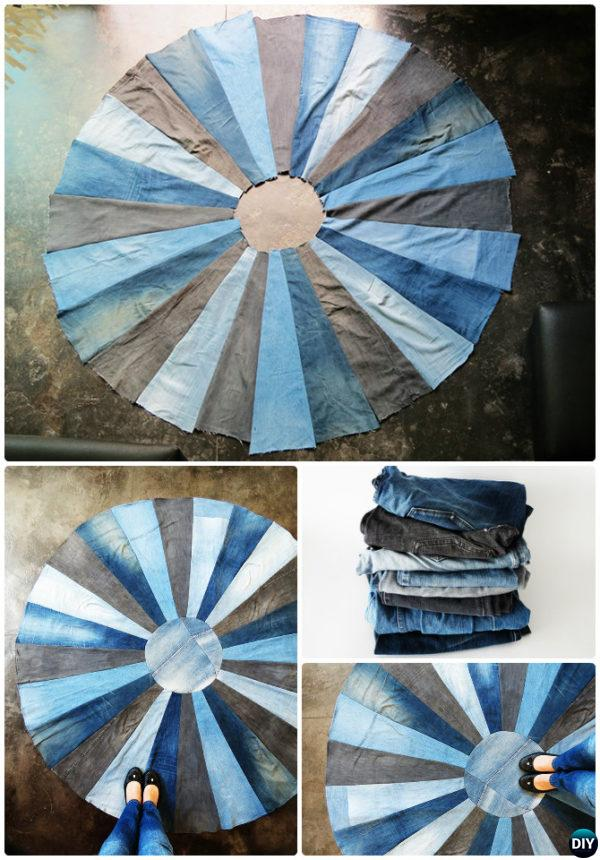DIY Recycled Jean Demin Rug Project-20 No Crochet DIY Rug Ideas Instructions