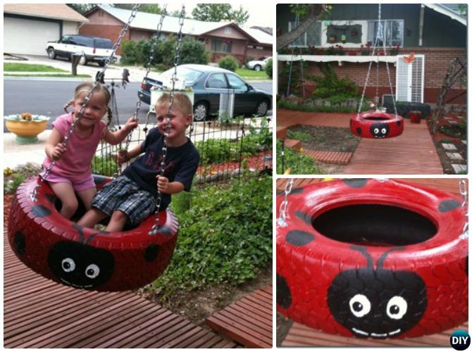 DIY Recycled Ladybug Tire Swing Instructions