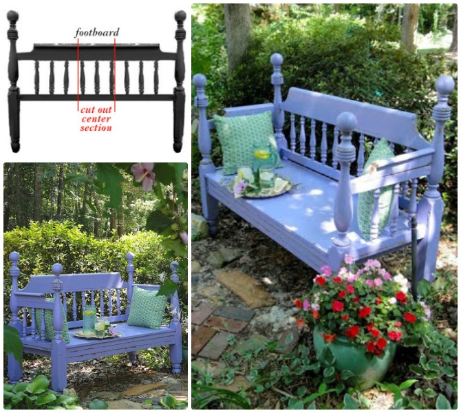 DIY Repurposed Bed Frame Garden Bench Instructions