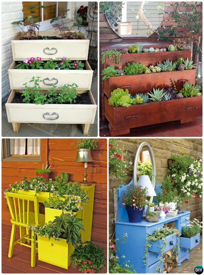 DIY Repurposed Dresser Planter Instructions-20 DIY Upcycled Container Gardening Planters Projects
