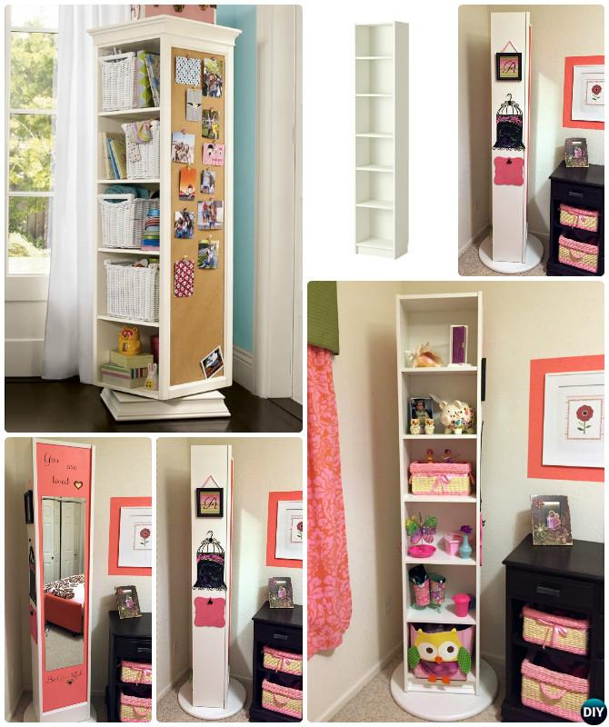 DIY Rotating Lazy Susan Bookcase-IKEA Hack Free Plan Instruction
