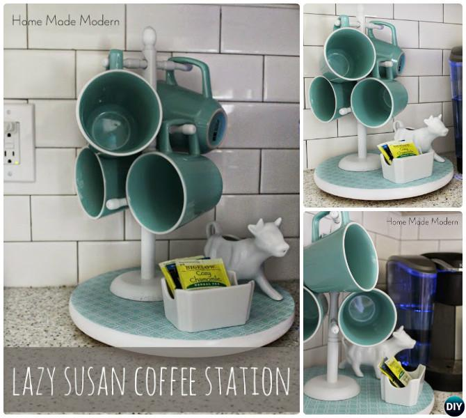 DIY Rotating Lazy Susan Coffee Station Free Plan Instruction