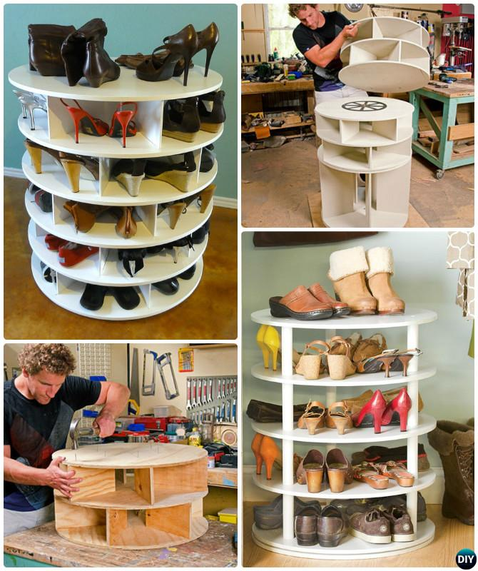DIY Rotating Lazy Susan Shoe Rack Free Plan Instruction