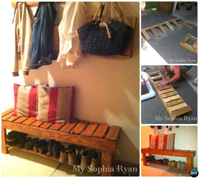 DIY Rustic Wood Pallet Bench Instructions-20 Best Entryway Bench DIY Ideas Projects
