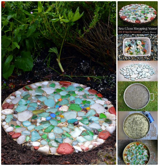 DIY Sea Glass Cake Pan Stepping Stone Instructions