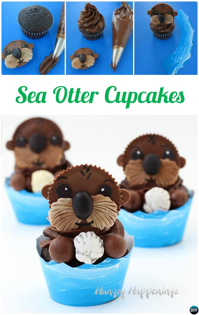 DIY Sea Otter Cupcakes-50 Most Surprising Cupcake Decoration Ideas and Recipes