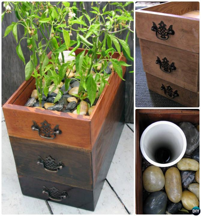 DIY Self Watering Drawer Planter Instruction DIYHowto-Best Draw Gardening Ideas