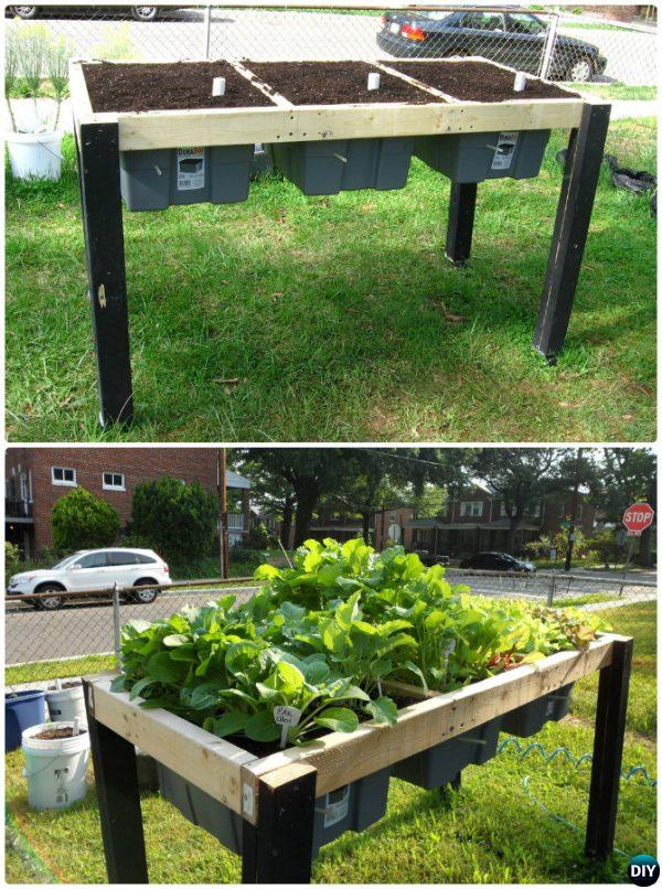 DIY Self-Watering Veggie Table Garden Bed-20 DIY Raised Garden Bed ...
