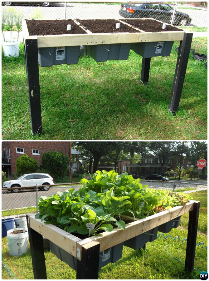 DIY Self-Watering Veggie Table Garden Bed-20 DIY Raised Garden Bed Ideas Instructions