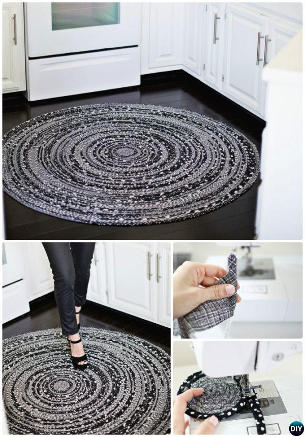 DIY Sew Fabric Rope Rug Instruction-20 No Crochet DIY Rug Ideas Instructions