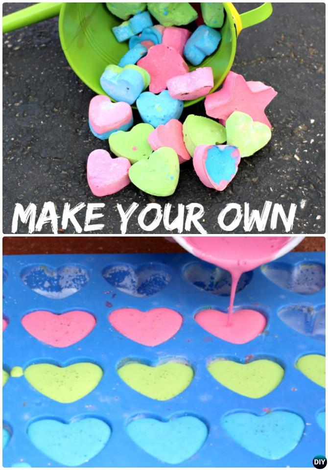 DIY Silicone Mold Heart Sidewalk Chalk Instruction