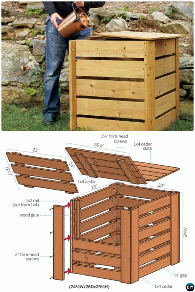 DIY Single Cedar Lumber Compost Bin Instruction-12 Simple DIY Compost Bin Projects