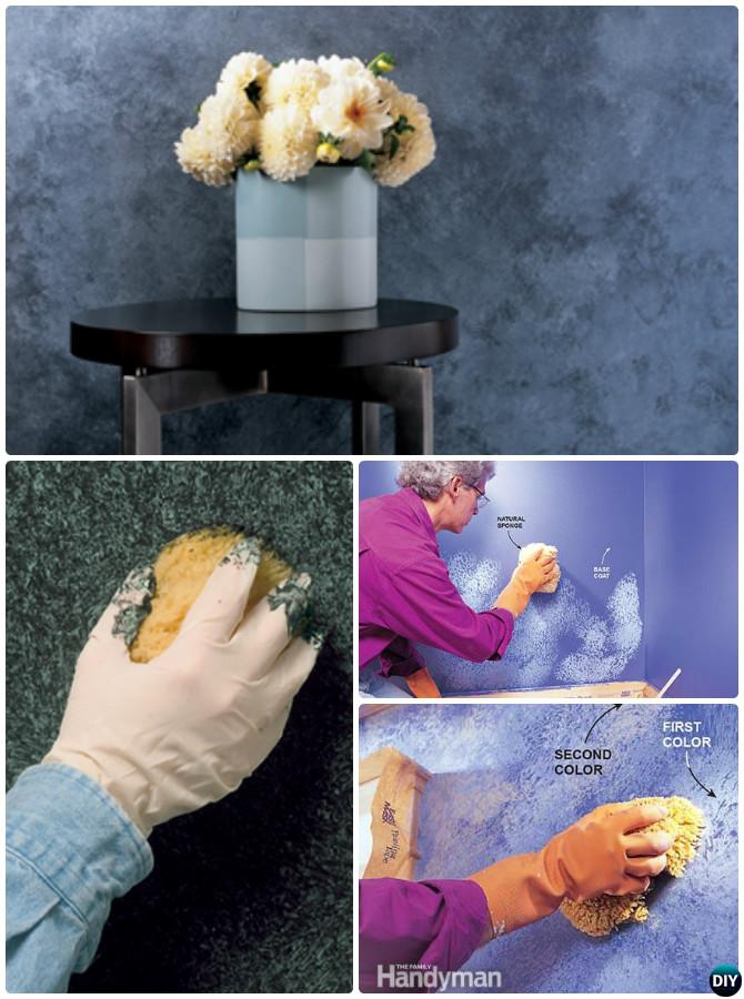 DIY Sponge Wall Painting Instruction Ideas Techniques Tutorials