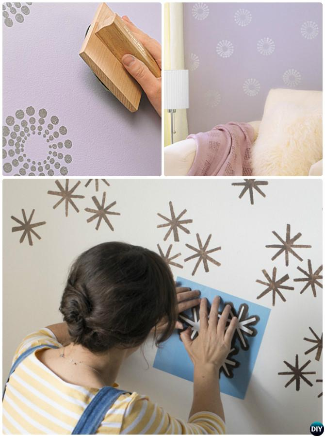 DIY Stamp Stencil Wall Painting Instruction Ideas Techniques Tutorials