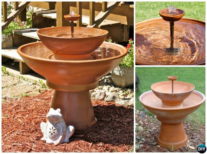 DIY Terra Cotta Clay Pot Fountain Garden Instructions