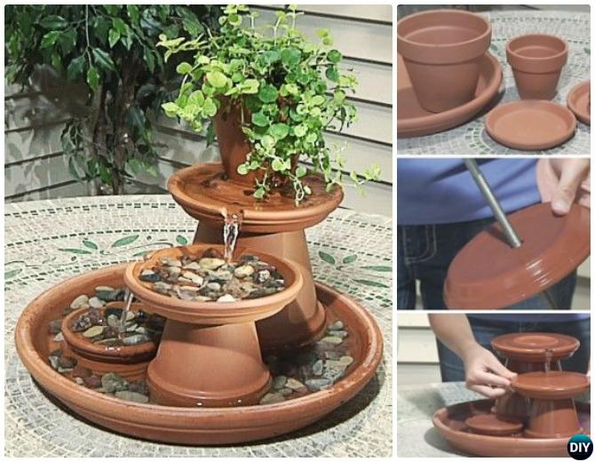 DIY Terra Cotta Clay Pot Table Fountain Instructions