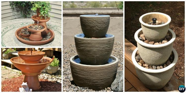 Small Water Garden Needs No Electricity Just Place Pots: DIY Terra Cotta Clay Pot Fountain Projects [Picture