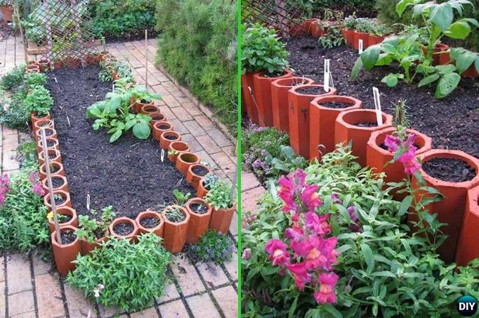 Creative Garden Edging Ideas garden bed edging ideas woohome 3 Diy Terracotta Pipes Garden Edging 20 Creative Garden Bed Edging Ideas Projects Instructions