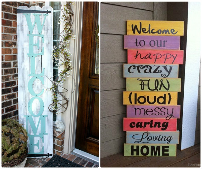 DIY Thrift Wood Welcome Board-20 DIY Porch Decorating Ideas Projects