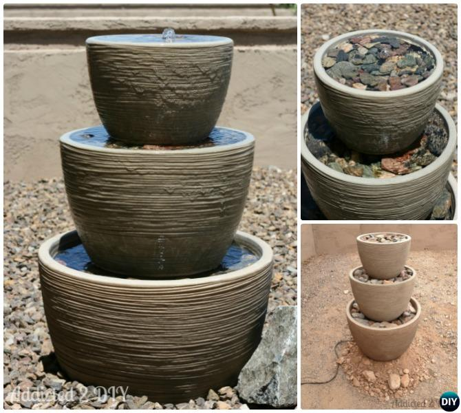 DIY Tiered Flower Pot Fountain Instructions
