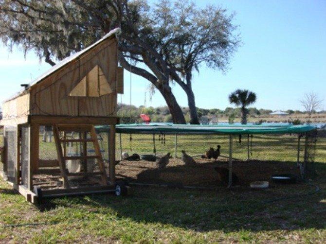 DIY Tractor Trampoline Chicken Run