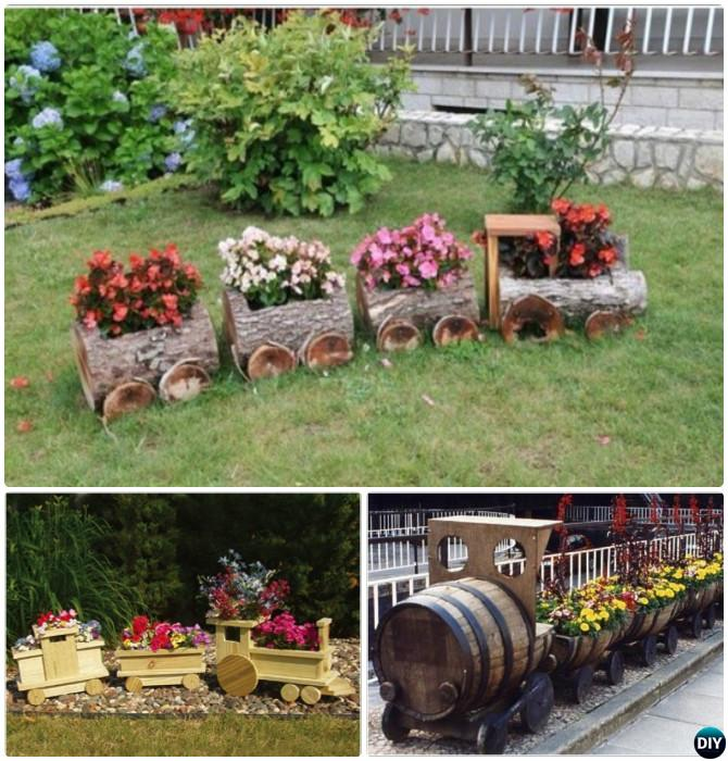 DIY Train Planter  20 Colorful Garden Art DIY Decorating Ideas