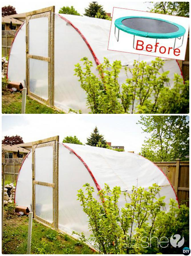 DIY Trampoline Greenhouse-18 DIY Green House Projects Instructions