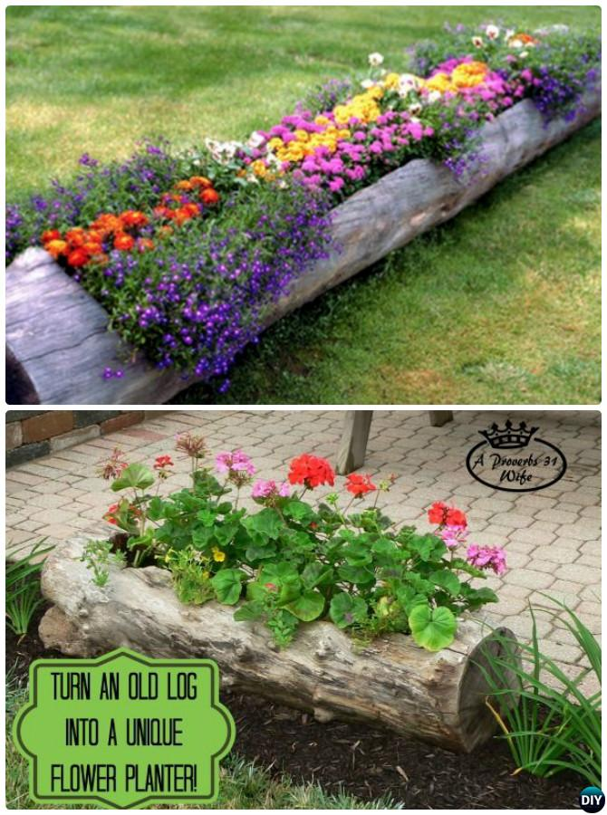 DIY Tree Log Planter 20 Colorful Garden Art DIY Decorating Ideas