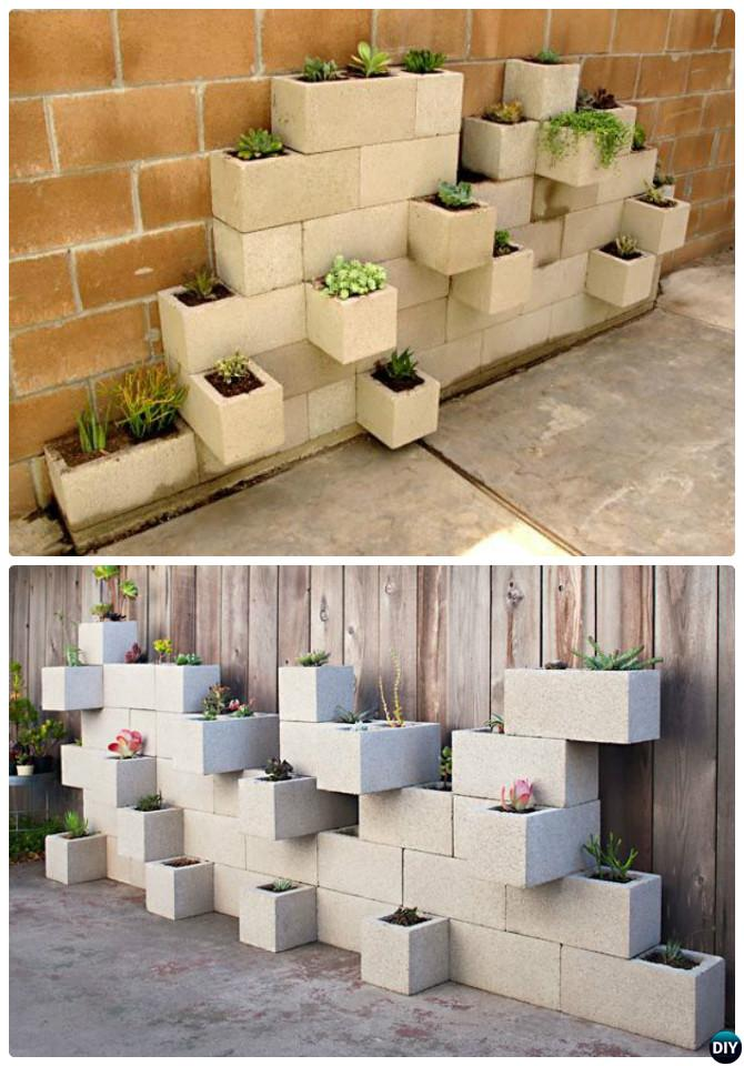 DIY Vertical Cinder Block Garden Planter-10 Simple Cinder Block Garden Projects