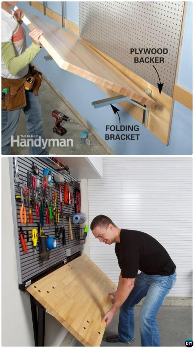 DIY Wall Mount Folding Work Bench-Garage Organization and Storage DIY Ideas Projects