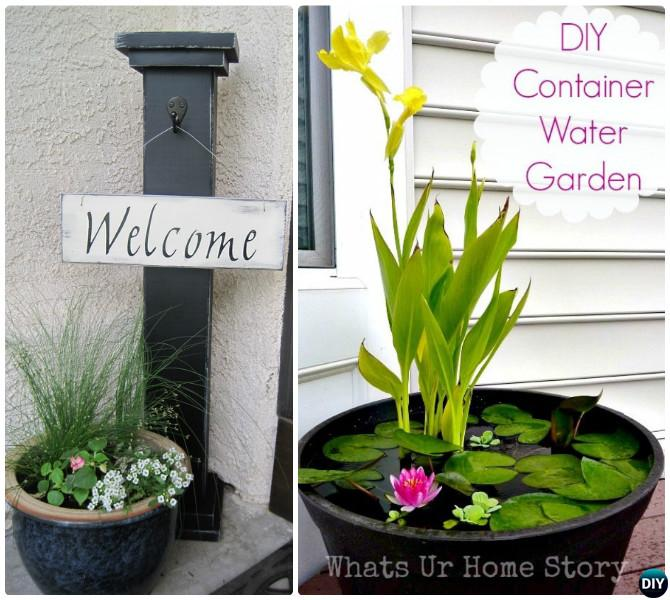 DIY Water Pond Container Garden Front Door-20 DIY Porch Decorating Ideas Projects