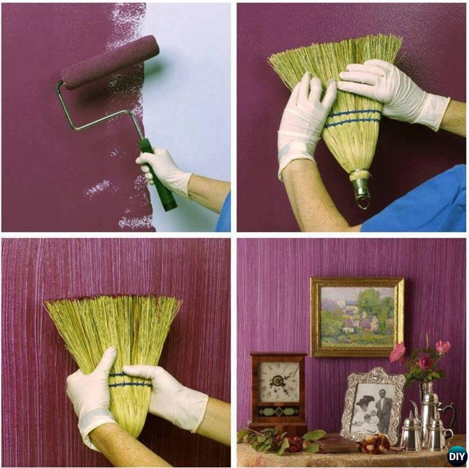 DIY Whisk Broom Texture Wall Painting Instruction-DIY Wall Painting Ideas Techniques Tutorials