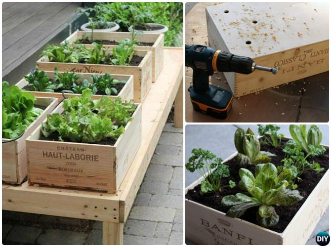 DIY Wine Box Raised Garden Bed-20 DIY Raised Garden Bed Ideas Instructions