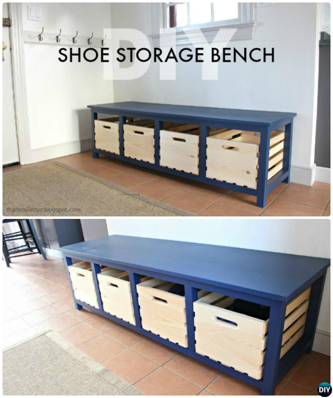 Diy Wood Crate Shoe Storage Bench Instructions 20 Best