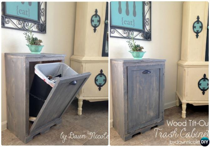 DIY Wood Tilt Out Trash Can Cabinet-Smart Ways to Hide Your Trash Can