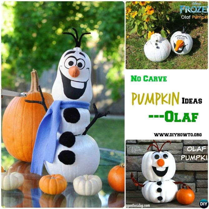 diy olaf snowman instruction 16 no carve pumpkin diy ideas halloween decoration crafts - Halloween Diy Crafts