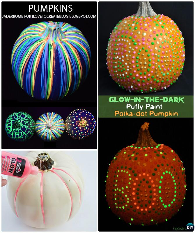 DIY Glow in the Dark Pumpkin Instruction-No Carve Pumpkin DIY Ideas