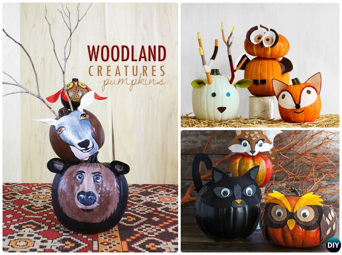 DIY Wonderland Creature Animal Fox Pumpkin Instructions-16 No Carve Pumpkin DIY Ideas