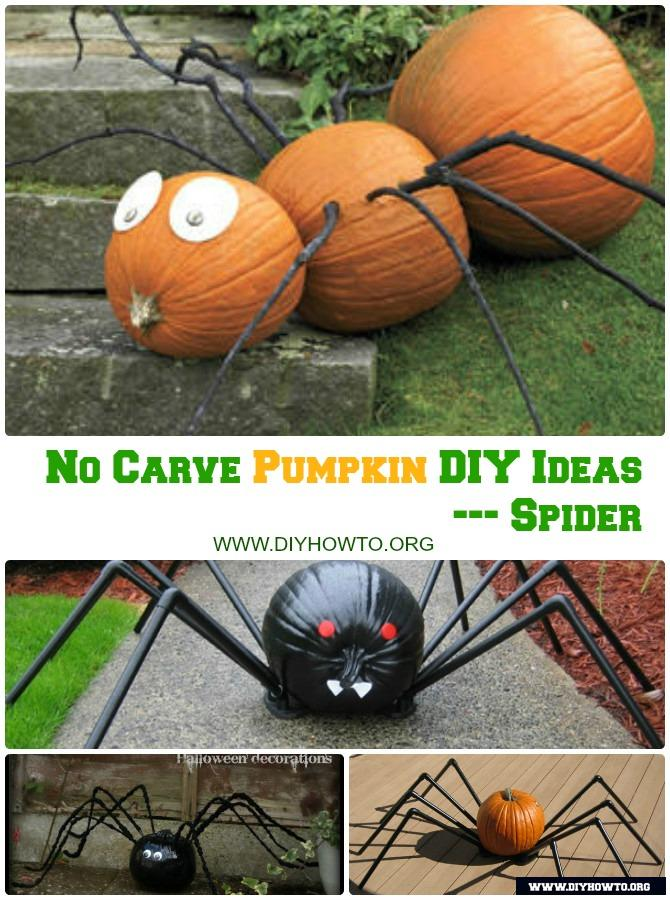 DIY Spider Pumpkin Instructions-16 No Carve Halloween Pumpkin DIY Ideas