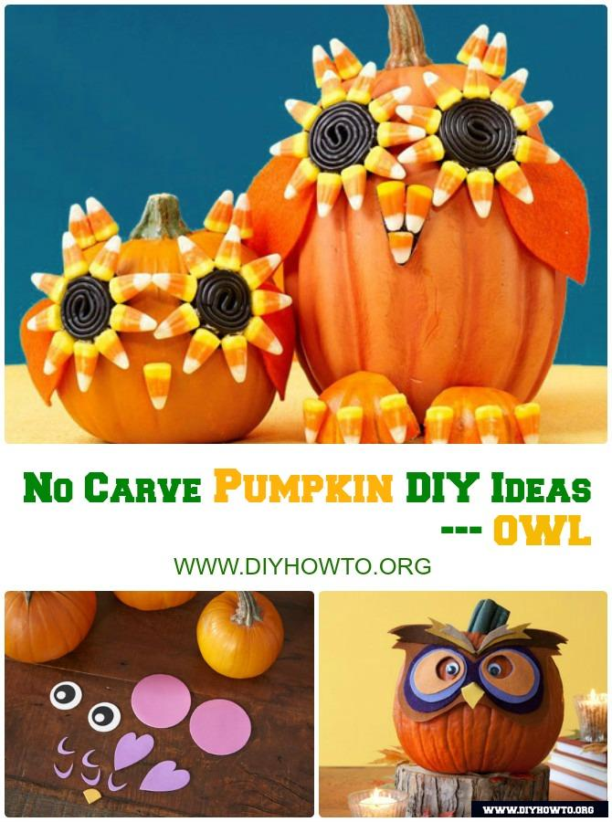 DIY Owl Pumpkin Instructions-16 No Carve Halloween Pumpkin DIY Ideas