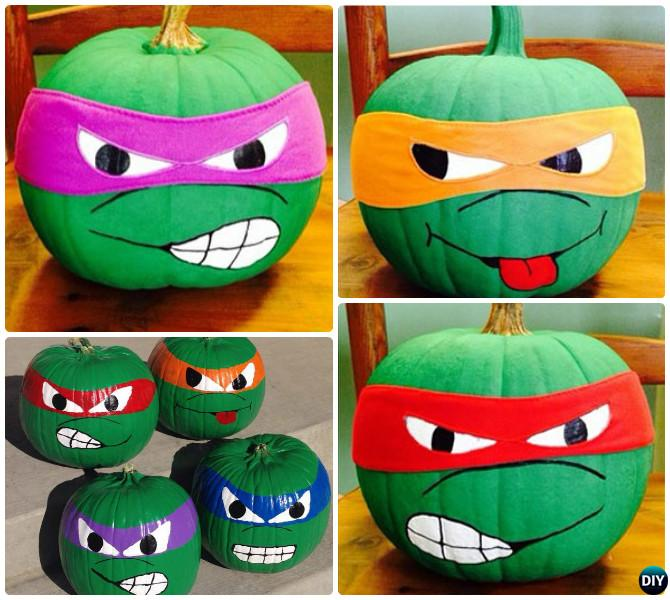 DIY TMNT Ninja Turtle Pumpkins Instructions -16 No Carve Pumpkin DIY Ideas