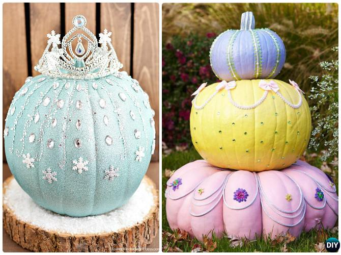 DIY Disney Elsa and Princess Pumpkin Instructions-16 No Carve Pumpkin DIY Ideas