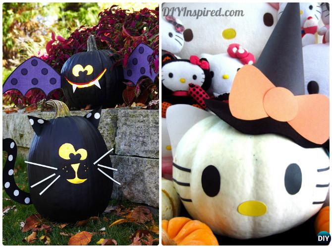 DIY Kitty Cat Pumpkin Instructions-16 No Carve Pumpkin DIY Ideas