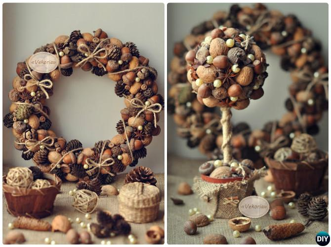 Pinecone Nut Wreath and Topiary-20 Beautiful DIY Pinecone Craft Projects For Christmas Decoration