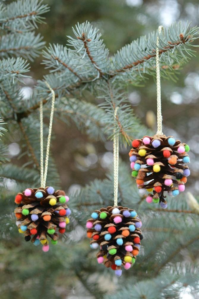 Pom Pom Pinecone Christmas Ornaments-20 DIY Porch Decorating Ideas Projects