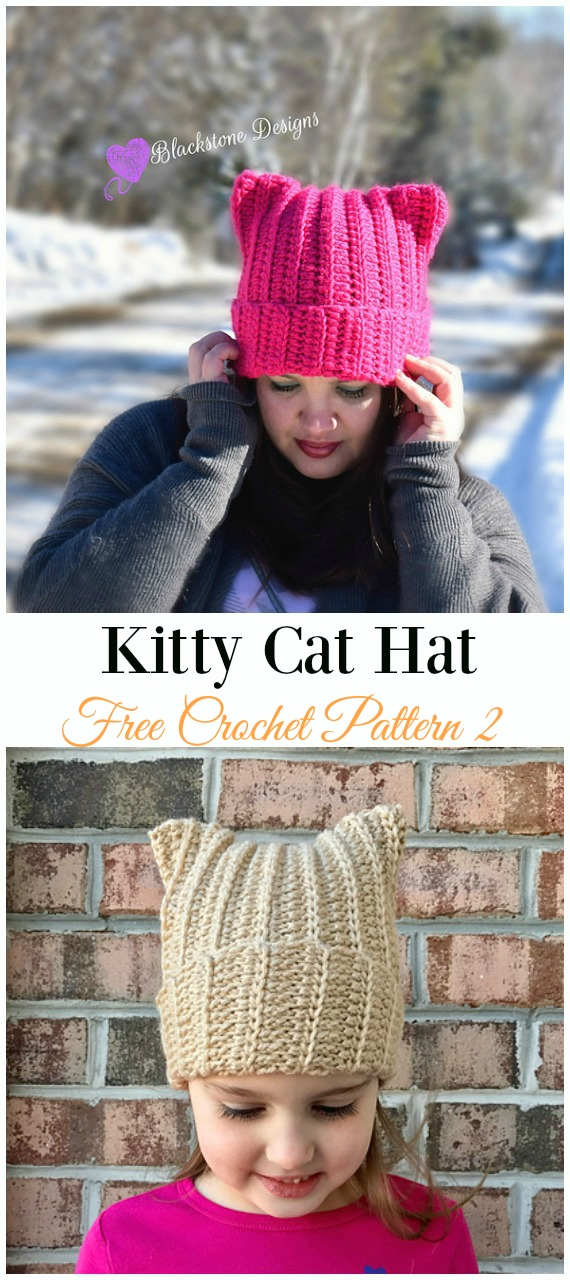 Kitty Cat Hat Crochet Free Pattern - Fun Adult #Cat; #Hat; Free #Crochet; Patterns