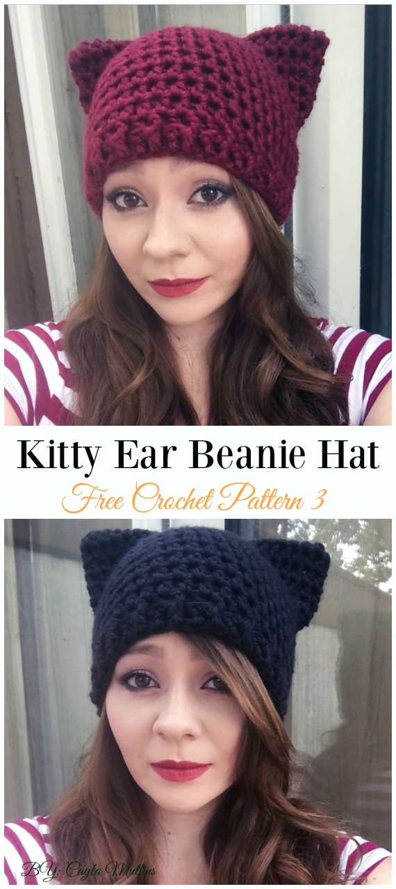 Kitty Ear Beanie Hat Crochet Free Pattern - Fun Adult Cat Hat Free Crochet Patterns