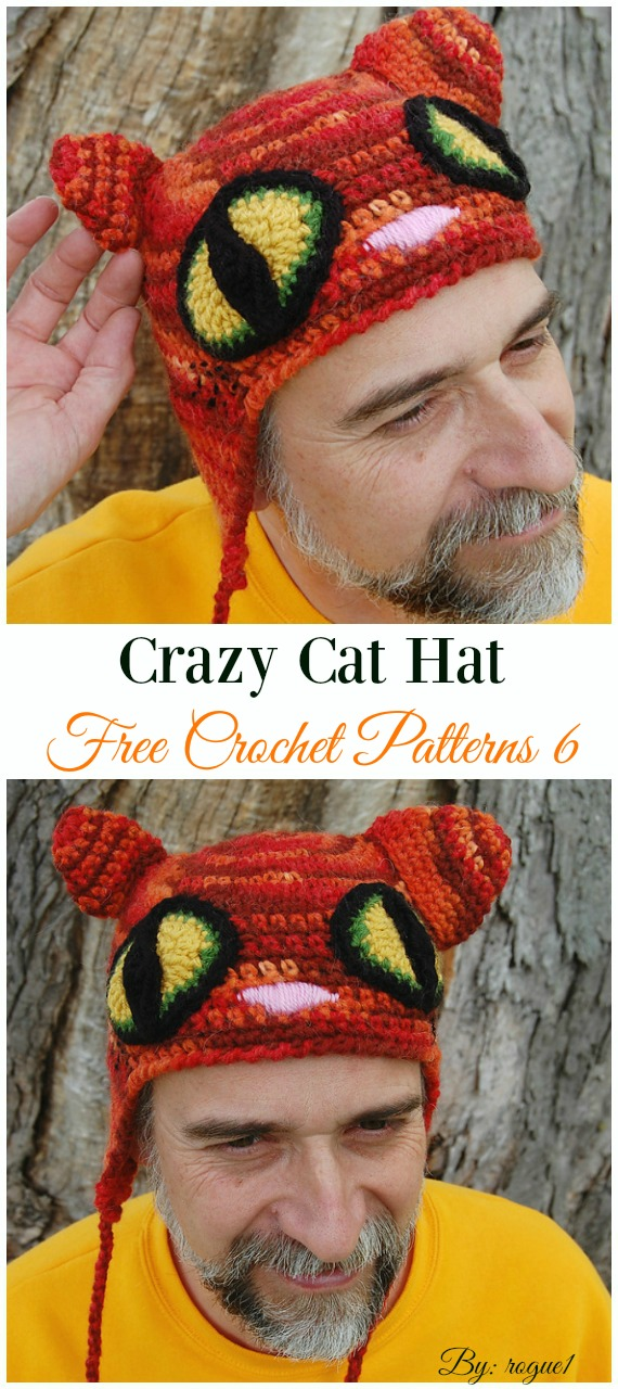 Crazy Cat Hat Crochet Free Pattern - Fun Adult Cat Hat Free Crochet Patterns