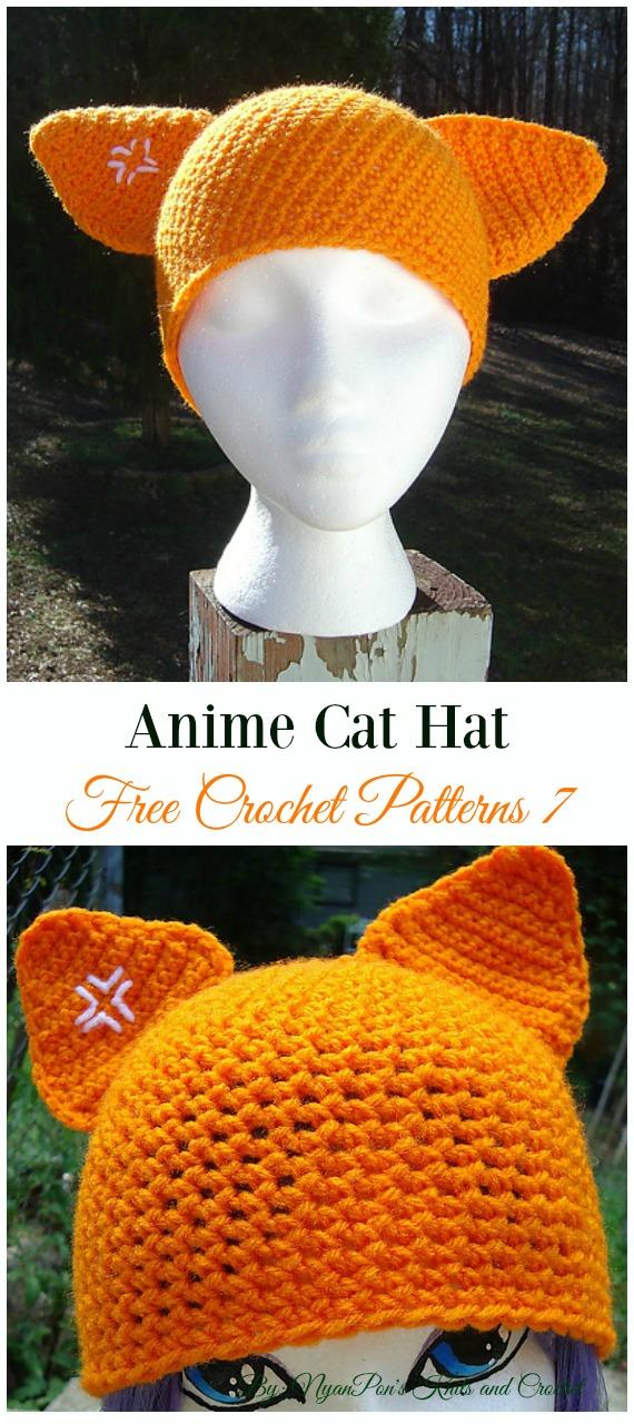 Anime Cat HatCrochet Free Pattern -Fun Adult Cat Hat Free Crochet Patterns